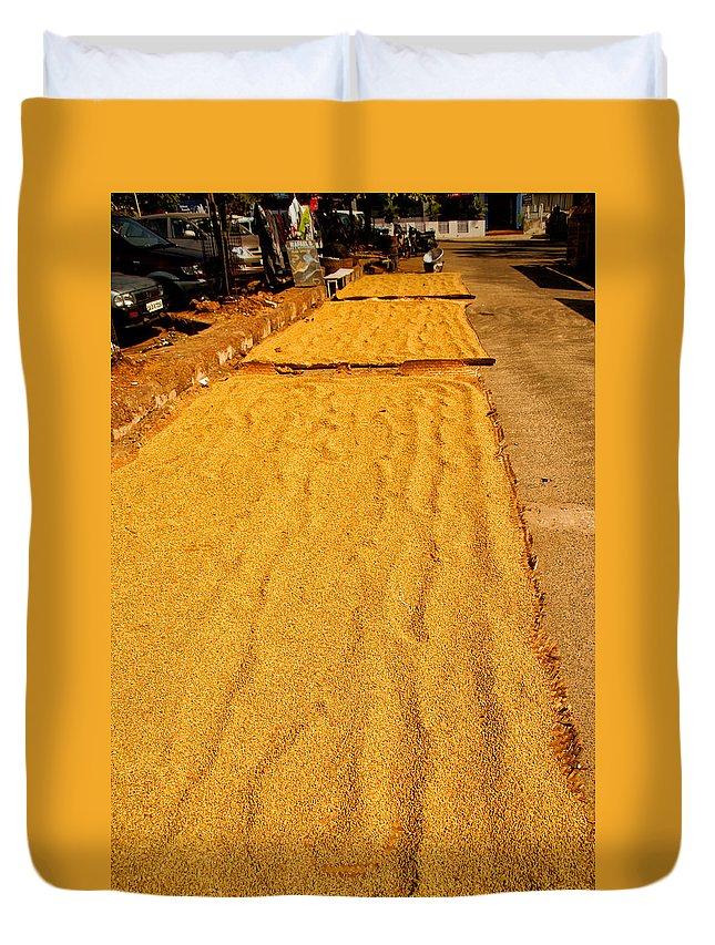 Colva Duvet Cover featuring the digital art Grain Drying by Carol Ailles