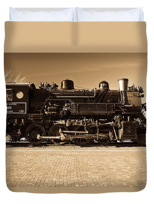 20121128-20121027-dsc03359-2 Duvet Cover featuring the photograph Grand Canyon 29 Railway Engine by Douglas Barnett