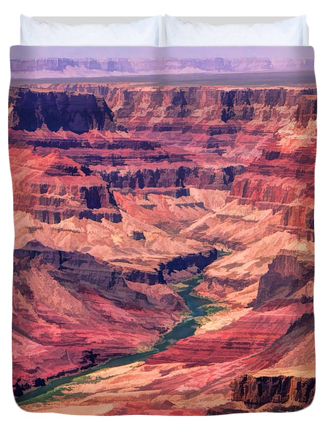 Grand Canyon Duvet Cover featuring the painting Grand Canyon Colorado Canyon by Christopher Arndt