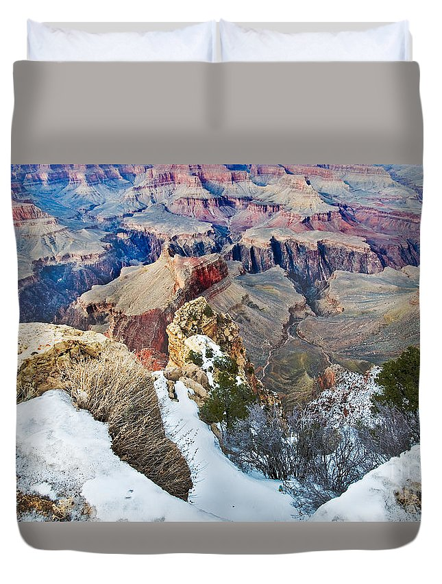 Grand Canyon In February Duvet Cover featuring the photograph Grand Canyon In February by Mae Wertz