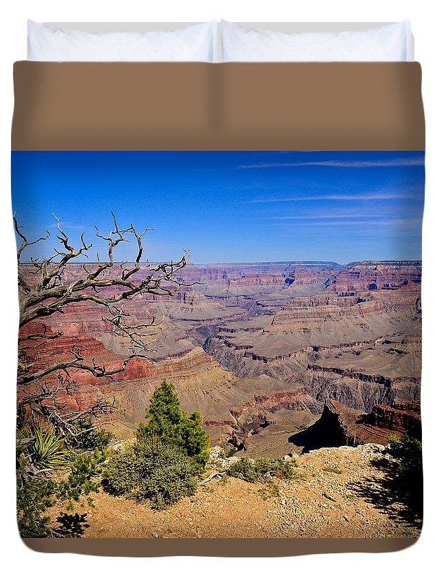 Grand Canyon National Park Duvet Cover featuring the photograph Grand Canyon South Rim Trail by Greg Norrell