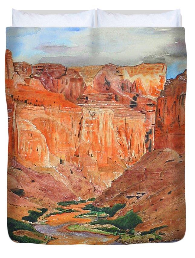 Landscape Duvet Cover featuring the painting Grand Canyon Splendor by Carol Komassa