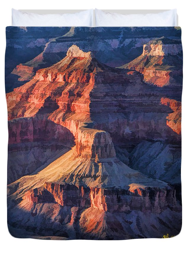 Grand Canyon Duvet Cover featuring the painting Grand Canyon Sunset Ridge by Christopher Arndt