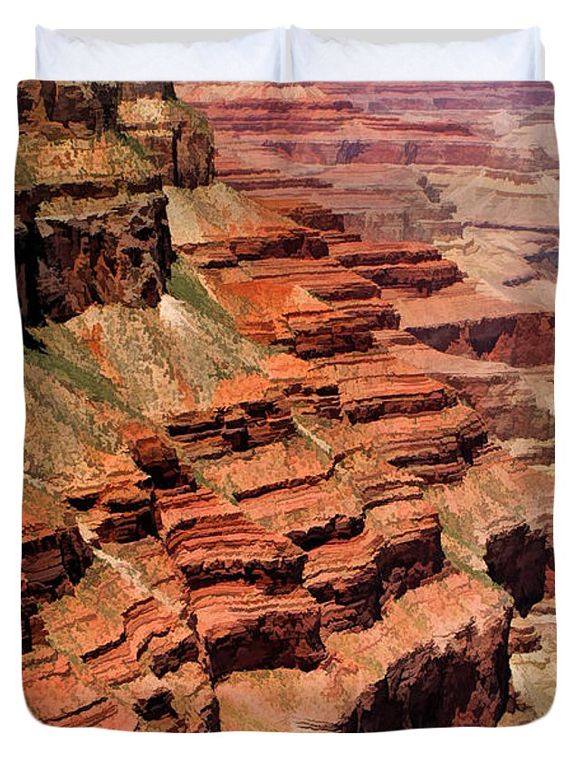 Grand Canyon Duvet Cover featuring the painting Grand Canyon Valley Depths by Christopher Arndt