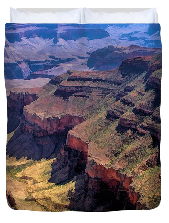 Grand Canyon Duvet Cover featuring the painting Grand Canyon Valley Trail by Christopher Arndt