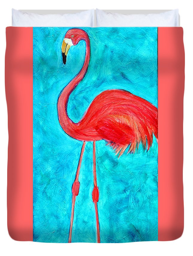 Flamingo Duvet Cover featuring the painting Grand Flamingo by Maura Satchell