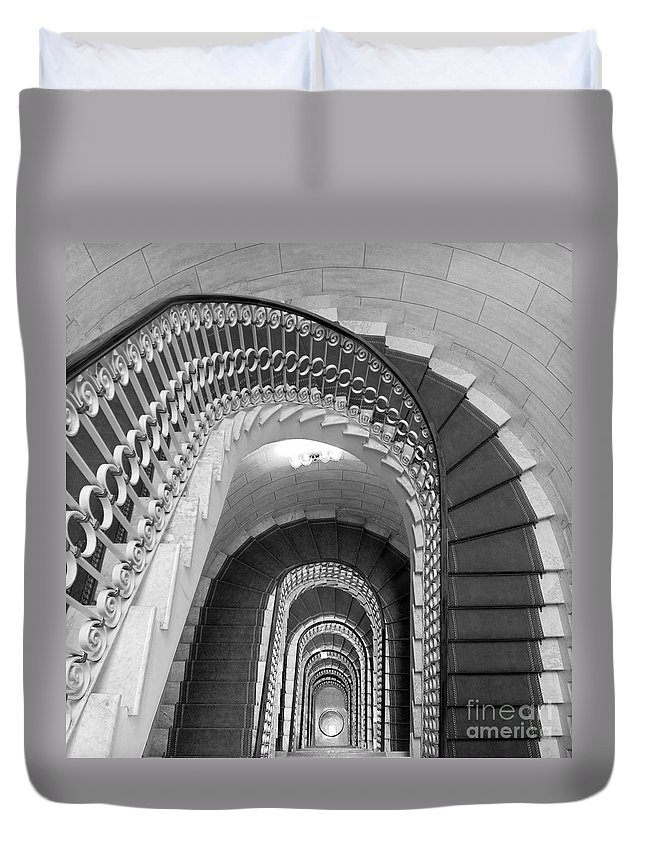Stairwell Duvet Cover featuring the photograph Grand Flora Stairwell Rome Italy by Mike Nellums