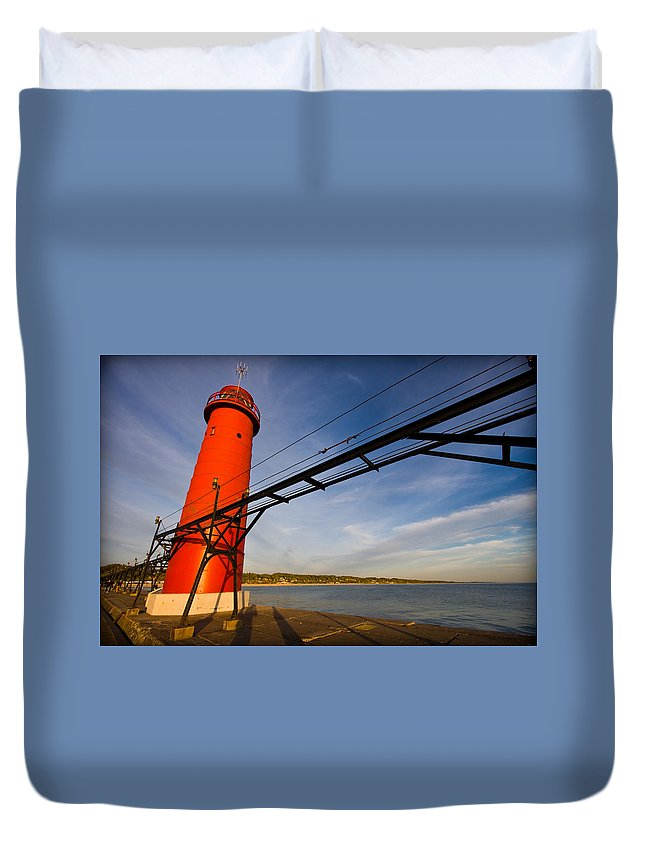 3scape Duvet Cover featuring the photograph Grand Haven Lighthouse by Adam Romanowicz