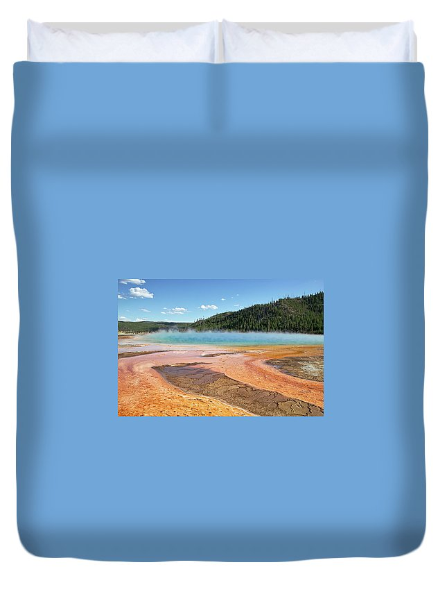 Tranquility Duvet Cover featuring the photograph Grand Prismatic Spring by Alberta Scrambler