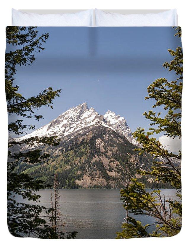 Grand Teton National Park Duvet Cover featuring the photograph Grand Teton On Jenny Lake - Grand Teton National Park Wyoming by Brian Harig