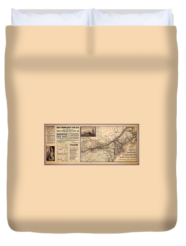 Map Duvet Cover featuring the drawing Grand Trunk Railway Map 1887 by Mountain Dreams