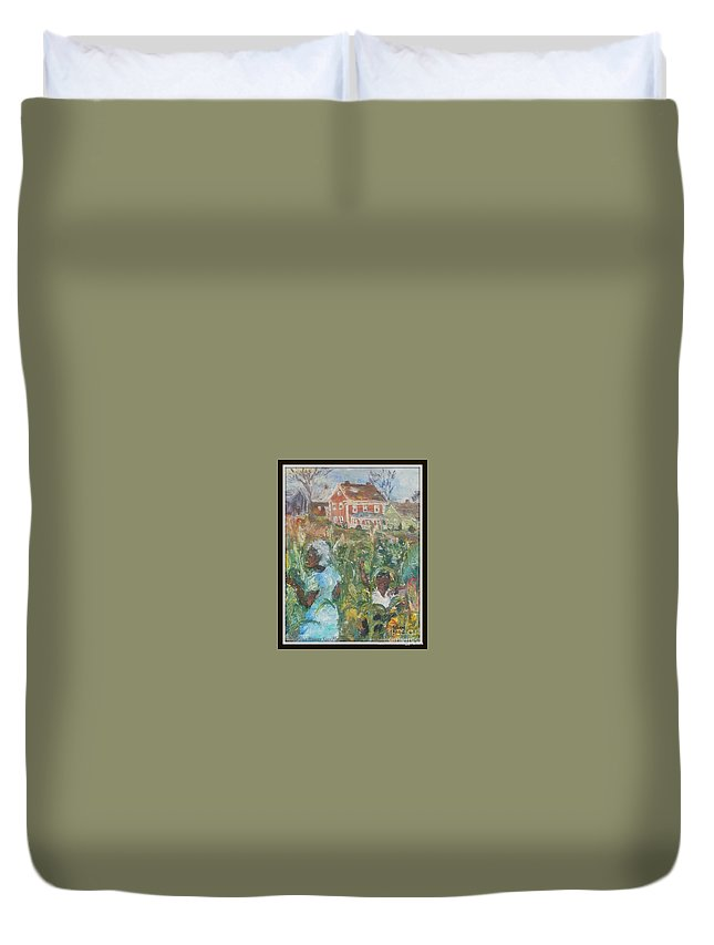 Grandma Duvet Cover featuring the painting Grandma Higgins Corn Harvest by Keith OBrien Simms