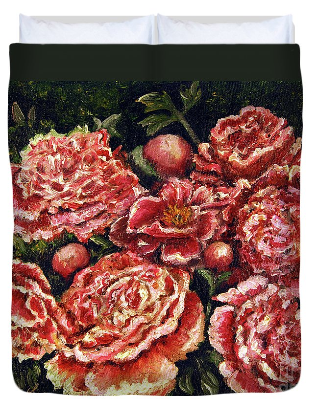 Pink Duvet Cover featuring the painting Grandma Lights Peonies by Linda Simon