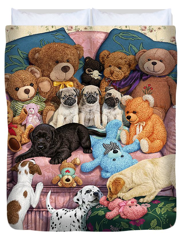 Teddy Bears Duvet Cover featuring the digital art Grandma's Armchair by Steve Read