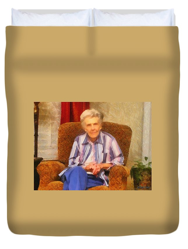 Chair Duvet Cover featuring the painting Grandmother by Jeffrey Kolker