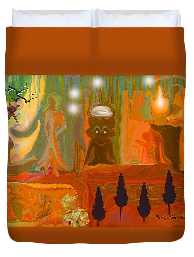 People Duvet Cover featuring the painting Grandpas House For His Little Peeps by Sherri's - Of Palm Springs