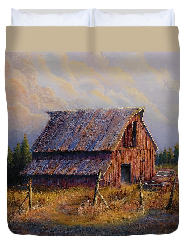 Barn Duvet Cover featuring the painting Grandpas Truck by Jerry McElroy