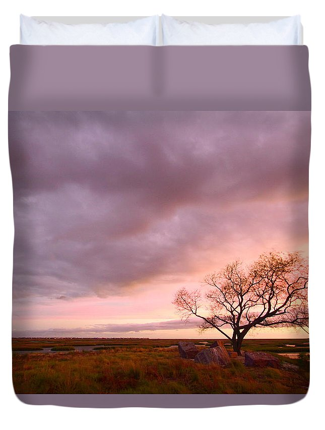 Galveston Duvet Cover featuring the photograph Storm At Dusk 2am-108346 by Andrew McInnes