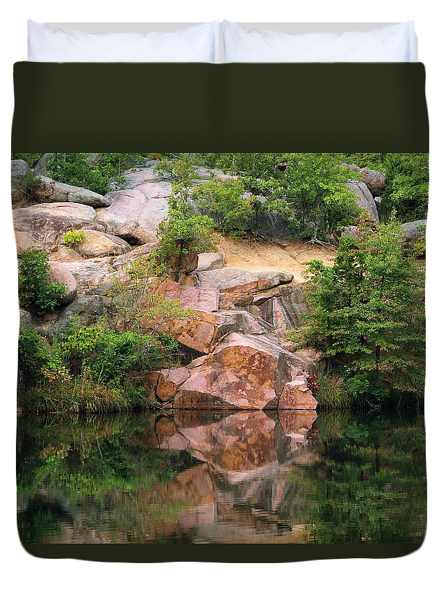Missouri Duvet Cover featuring the photograph Granite Quarry And Reflections In The Missouri Ozarks by Greg Matchick