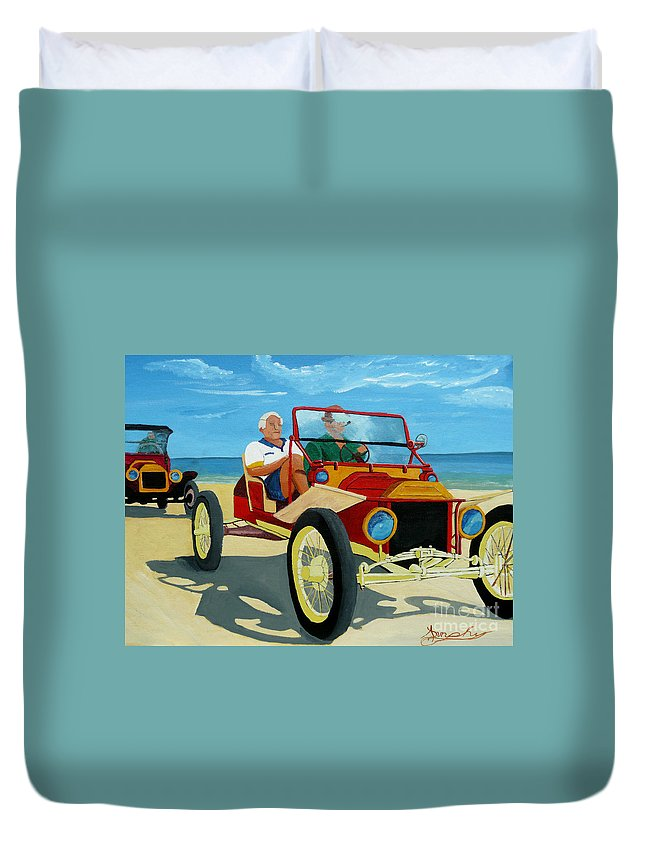 Cars Duvet Cover featuring the painting Granpas Racer by Anthony Dunphy
