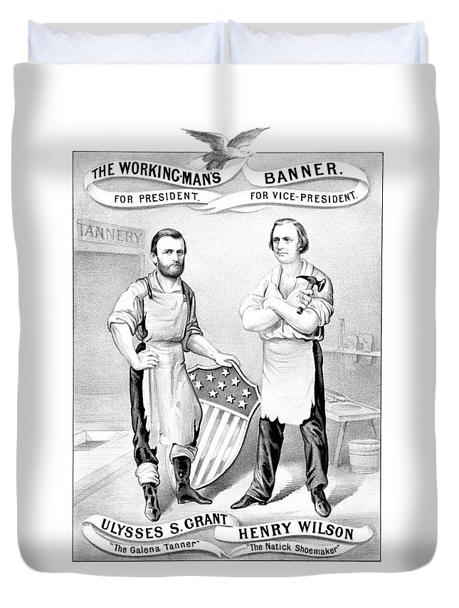 Ulysses S Grant Duvet Cover featuring the drawing Grant And Wilson 1872 Election Poster by War Is Hell Store