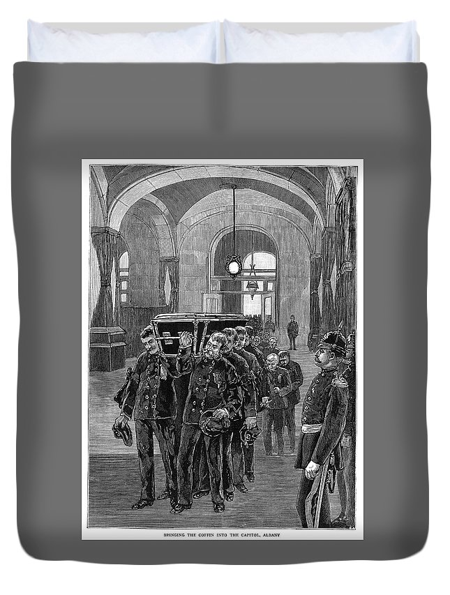 1885 Duvet Cover featuring the painting Grant Funeral, 1885 by Granger