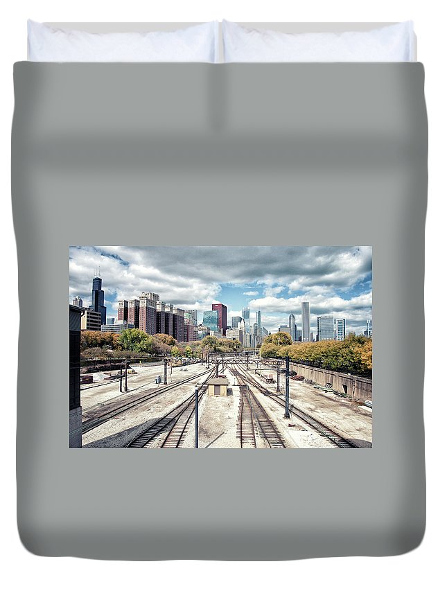 Tranquility Duvet Cover featuring the photograph Grant Park Railroad Tracks by Photographer Who Enjoys Experimenting With Various Styles.