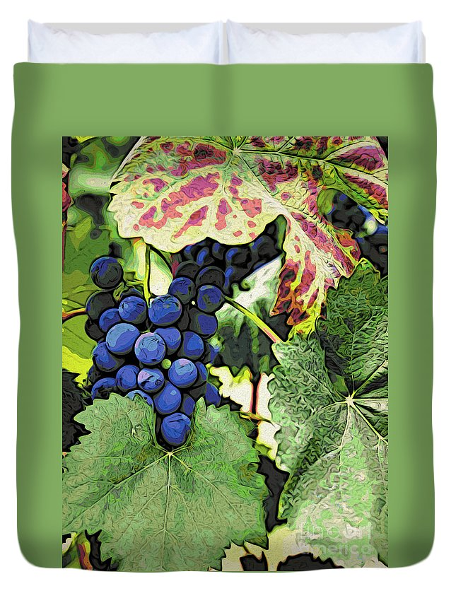 Kitchen Art Duvet Cover featuring the photograph Grapes 3 by Jacklyn Duryea Fraizer
