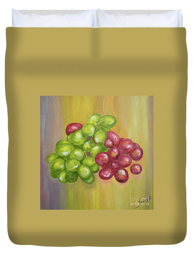 Grapes Duvet Cover featuring the painting Grapes by Graciela Castro