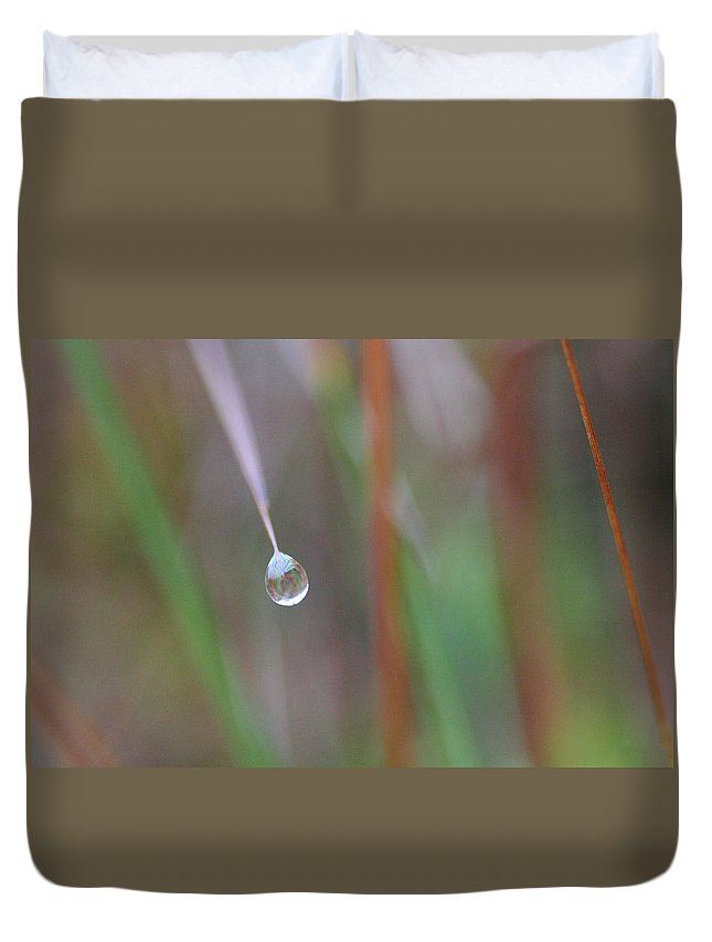 Alvinge Duvet Cover featuring the photograph Grass Droplet by Dreamland Media