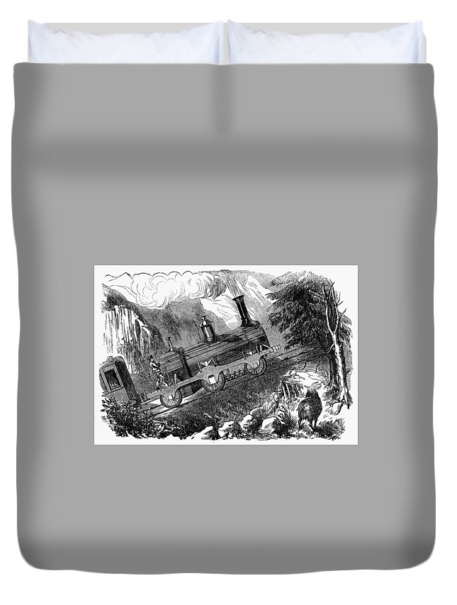 1857 Duvet Cover featuring the painting Grassi Locomotive, 1857 by Granger