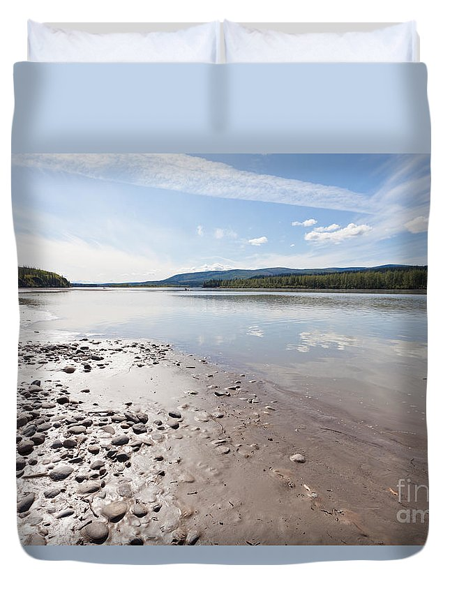 Alaska Duvet Cover featuring the photograph Gravel And Mud At Yukon River Near Dawson City by Stephan Pietzko