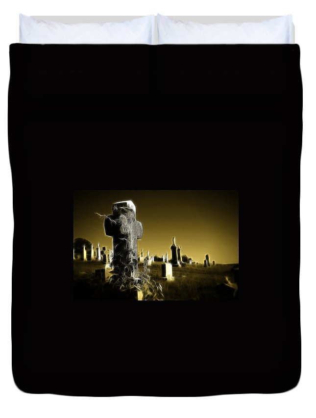 Graveyard Duvet Cover featuring the photograph Graveyard 4730 by Timothy Bischoff