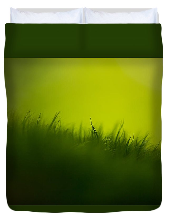 Green Duvet Cover featuring the photograph Gravity by Shane Holsclaw