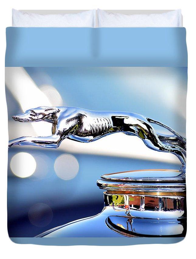 Grayhound Duvet Cover featuring the photograph Grayhound Glamour by Lorraine Harrington