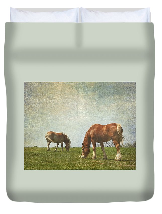 Animals Duvet Cover featuring the photograph Grazin' by David and Carol Kelly