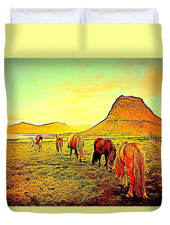 Iceland Duvet Cover featuring the photograph Happy To Be Grazing Again by Hilde Widerberg