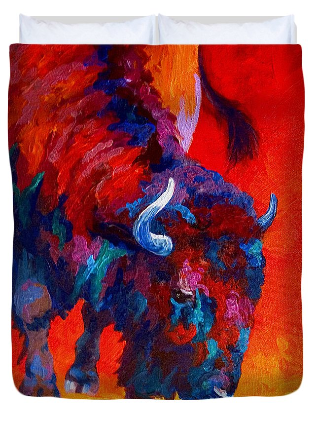 Bison Duvet Cover featuring the painting Grazing Bison by Marion Rose