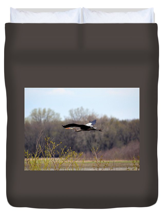 Great Blue Heron Duvet Cover featuring the photograph The Great Blue Heron by Bonfire Photography