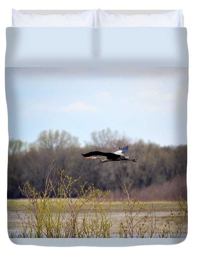 Great Blue Heron Duvet Cover featuring the photograph Great Blue Heron by Bonfire Photography