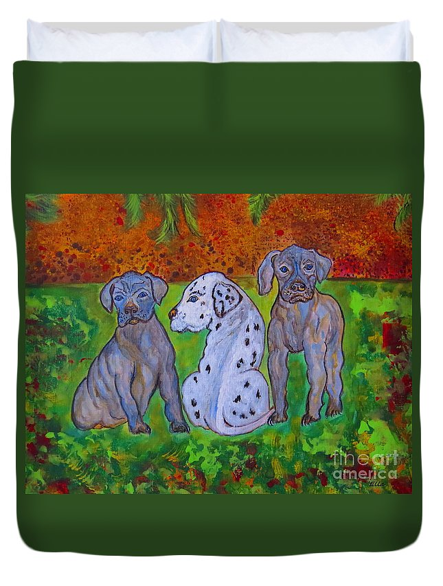 Great_dane Duvet Cover featuring the painting Great Dane Pups by Ella Kaye Dickey