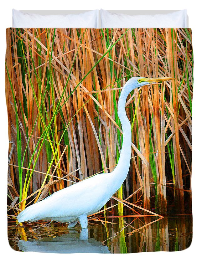 Great Egret Duvet Cover featuring the mixed media Great Egret by Christine Dekkers