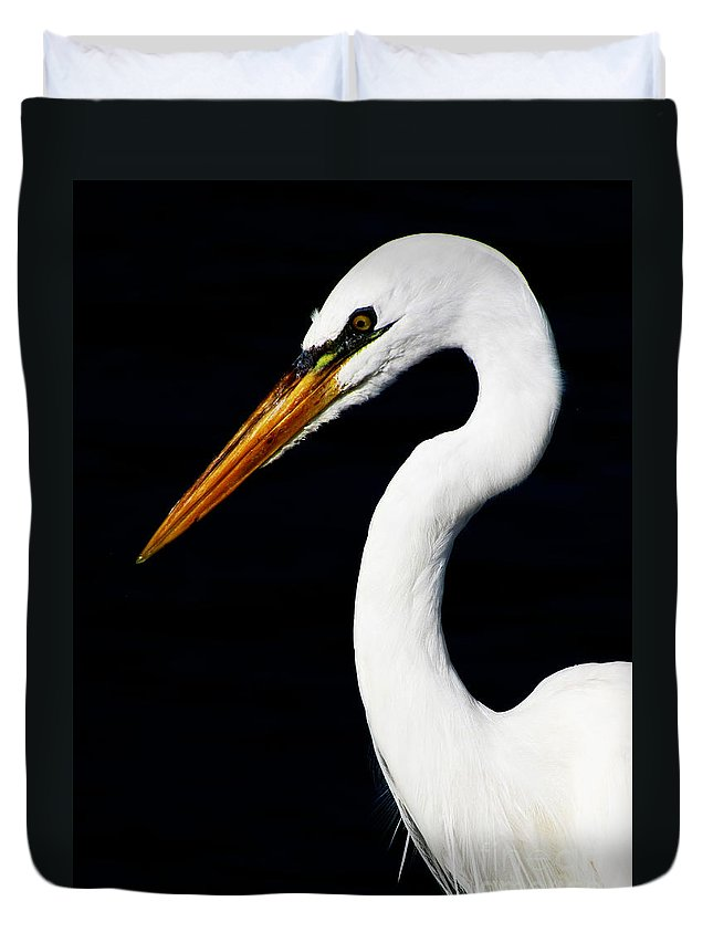 Great Egret Duvet Cover featuring the photograph Great Egret by Ron Tackett
