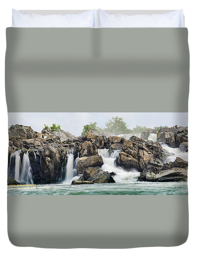 Scenics Duvet Cover featuring the photograph Great Falls Panoramic by Ogphoto