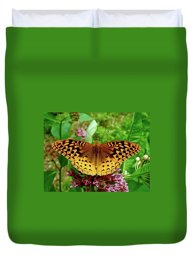 Butterfly Duvet Cover featuring the photograph Great Spangled Fritillary Butterfly by Mother Nature