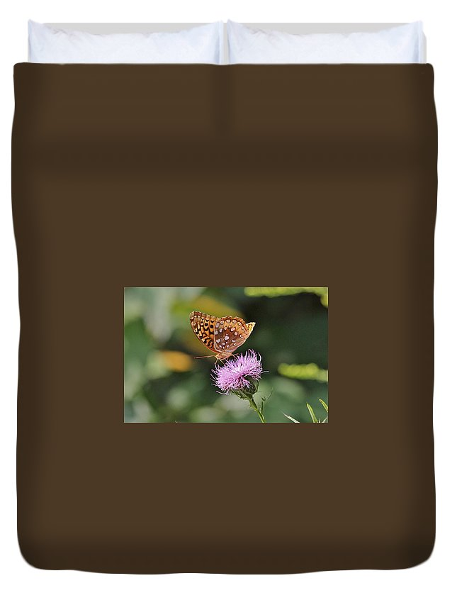 Butterfly Duvet Cover featuring the photograph Great Spangled Fritillary by Paul Golder