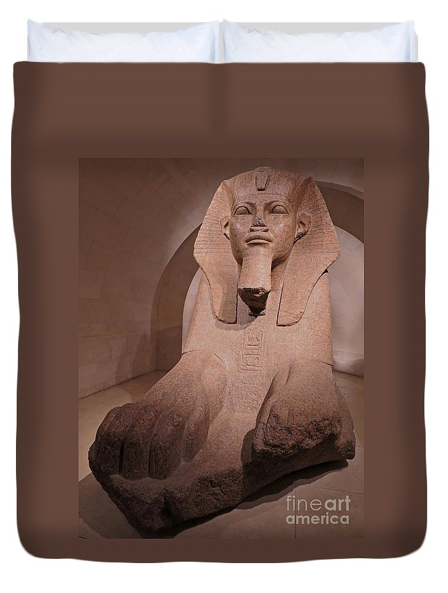 Sphinx Duvet Cover featuring the photograph Great Sphinx At Musee Du Louvre by Ann Horn