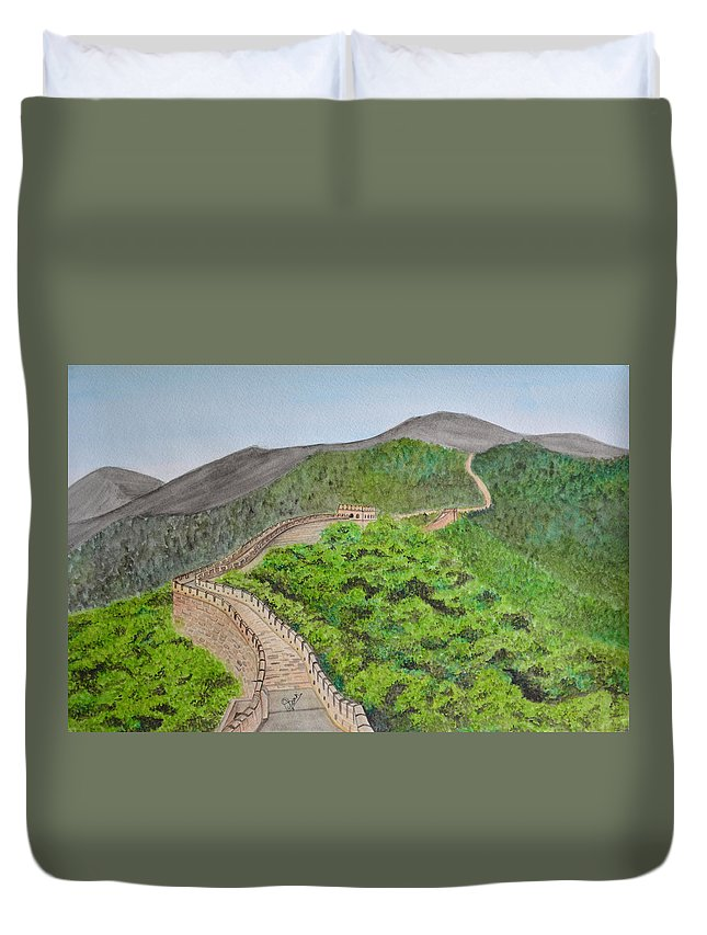 Great Wall Of China Duvet Cover featuring the painting Great Wall Of China by Swati Singh