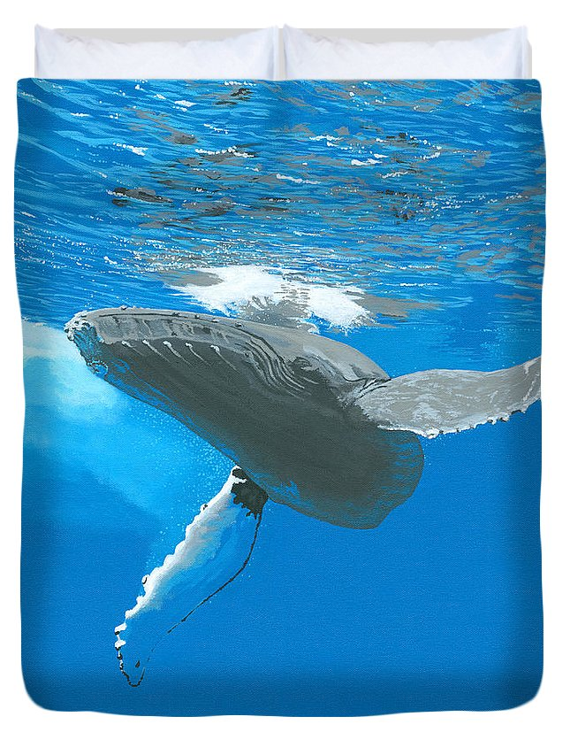 Whale Duvet Cover featuring the painting Great Wings Of New England by Robert Timmons