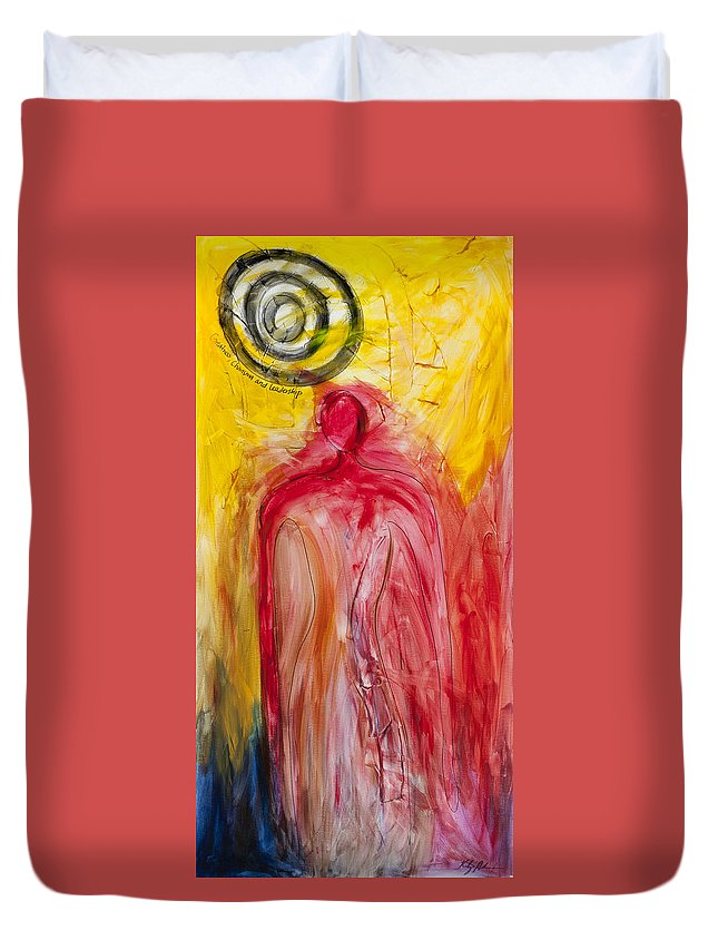 Adinkra Symbols Paintings Duvet Cover featuring the painting Greatness Charisma And Leadership by Kristye Addison Dudley